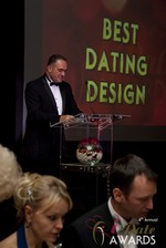 Nick Tsinonis announcing the Best Dating Design at the 2013 iDate Awards Ceremony