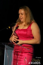 Anna Foster of eRomance (Winner of Best Up and Coming Dating Site) at the 2014 iDate Awards Ceremony